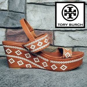 Tory Burch Leather Wedge White Stitch Detail Heels